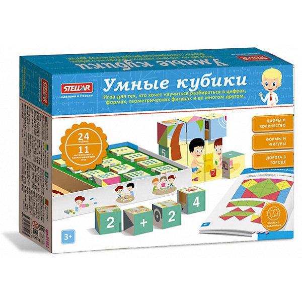 Настольная игра Stellar №54 Умные кубикиНастольные игры для всей семьи<br>Характеристики:<br><br>• возраст: 1+;<br>• количество кубиков: 24 шт.;<br>• размеры упаковки: 36,5х25,5х5 см;<br>• вес: 0,54 кг.<br><br>В состав игры входит 24 кубика. С ними можно разыграть 11 интересных и захватывающих игр, которые дадут ребенку новые знания и навыки.<br><br>Мальчики и девочки получат новые знания об окружающем мире. Они проявят логические способности и наблюдательность, распознавая, сопоставляя и классифицируя объекты, формы и цвета в пространстве.<br><br>В процессе игры дети повторят цифры, будут проводить расчеты, решать простые математические действия.<br><br>Такие игры помогают развивать мелкую моторику, усидчивость, образное мышление, память.<br><br>Настольную игру №54 «Умные кубики», Stellar можно приобрести в нашем интернет-магазине.<br>Ширина мм: 365; Глубина мм: 255; Высота мм: 50; Вес г: 540; Возраст от месяцев: 12; Возраст до месяцев: 2147483647; Пол: Унисекс; Возраст: Детский; SKU: 7925569;