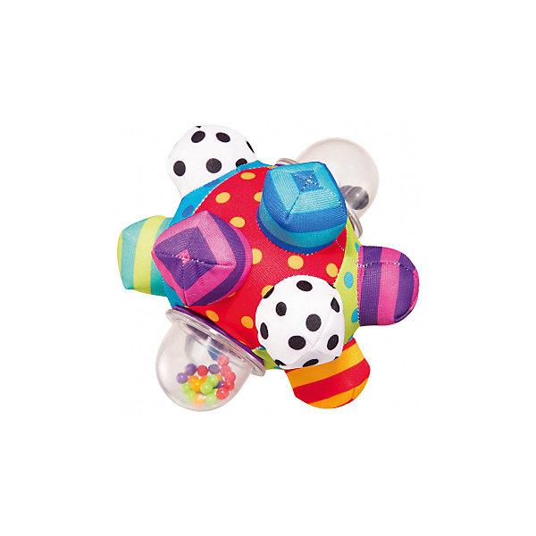 Погремушка Sassy МячИгрушки для новорожденных<br>Характеристики товара:<br><br>• возраст: от 6 месяцев;<br>• материал: текстиль;<br>• размер упаковки: 18х18х18 см;<br>• вес упаковки: 220 гр.<br><br>Мягкий мяч-погремушка Sassy — развивающая игрушка для малышей, выполненная в виде шарика с выступами. Некоторые выступы мягкие, за них удобно держаться маленькими ладонями. В некоторых выступах внутри перекатывающиеся элементы. Мяч способствует развитию мелкой моторики рук, тактильных ощущений, зрительного восприятия.<br><br>Мягкий мяч-погремушка Sassy можно приобрести в нашем интернет-магазине.<br>Ширина мм: 180; Глубина мм: 180; Высота мм: 180; Вес г: 220; Возраст от месяцев: 72; Возраст до месяцев: 168; Пол: Унисекс; Возраст: Детский; SKU: 7925653;