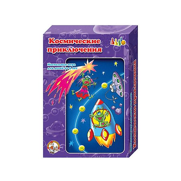 Настольная игра - ходилка Десятое королевство  Космические приключенияНастольные игры ходилки<br>Характеристики:<br><br>• тип игрушки: настольная игра;<br>• возраст: от 3 лет;<br>• материал: картон, пластик;<br>• комплектация: игровое поле на 68 ходов, 4 фишки, кубик 1-6, правила игры;<br>• вес: 135 гр;<br>• размер: 28х120хх см;<br>• бренд:  Десятое королевство.<br><br><br>Игра настольная Десятое королевство «Космические приключения» подойдет для детей от 3 лет. Совершите увлекательную космическую одиссею с вашим малышом, сыграв с ним в игру-ходилку. Забавный зеленый инопланетянин спешит к возлюбленной, бороздя бескрайние звездные просторы. По пути ему встретятся космические тарелки, жители разных планет и космонавты. Бросайте кубик и ходите по очереди. <br><br>Попадая на цветные участки, выполняйте задания и идите вперед, к финишу! Победит тот, кто первым попадет на финальное поле! Элементы игры сделаны и безопасных нетоксичных материалов, аккуратно и добротно.<br><br>Игру настольную Десятое королевство «Космические приключения» можно купить в нашем интернет-магазине.<br>Ширина мм: 280; Глубина мм: 195; Высота мм: 38; Вес г: 14; Возраст от месяцев: 84; Возраст до месяцев: 120; Пол: Унисекс; Возраст: Детский; SKU: 7926005;