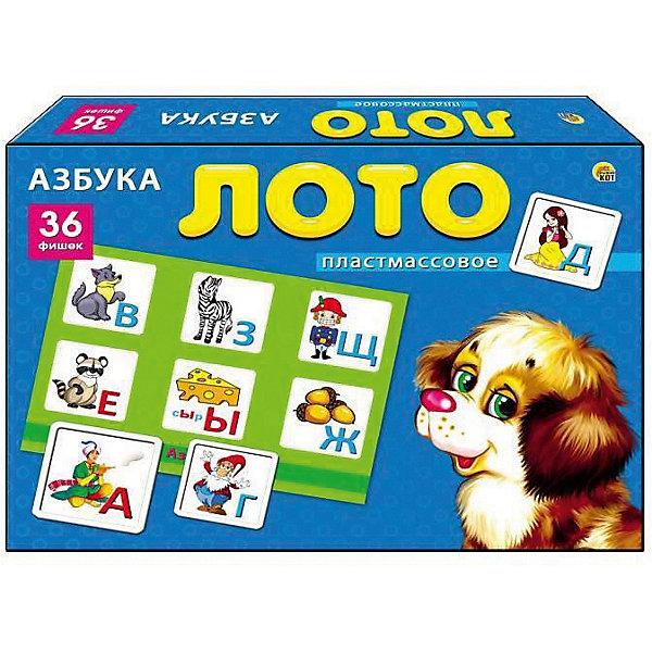 Настольная игра Рыжий кот Лото АзбукаЛото<br>Характеристики: <br><br>• возраст: от 3 лет;<br>• материал: пластик, картон;<br>• количество игроков: 2-4;<br>• в наборе: 6 карточек, 36 фишек;<br>• вес упаковки: 420 гр.;<br>• размер упаковки: 29,5х21,5х40 см;<br>• страна бренда: Россия.<br><br>Детское лото от бренда «Рыжий кот» содержит цветные яркие карточки с изображением букв и иллюстраций к ним. Принцип игры строится на правилах классического лото. Играя, малыш изучает новые слова, алфавит. Развивается логическое мышление и внимательность.<br><br>Лото пластиковое 36 фишек «Азбука» можно купить в нашем интернет-магазине.<br>Ширина мм: 295; Глубина мм: 215; Высота мм: 400; Вес г: 420; Возраст от месяцев: 36; Возраст до месяцев: 2147483647; Пол: Унисекс; Возраст: Детский; SKU: 7926675;