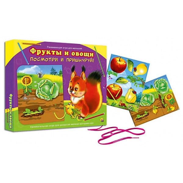 Шнуровка Рыжий кот Посмотри и пришнуруй, Фрукты и  овощиОбучающие игры<br>Характеристики:<br><br>• возраст: от 3 лет;<br>• в наборе: 2 карточки с изображением, 2 шнурка;<br>• вес упаковки: 262 гр.;<br>• размер упаковки: 35х21х26 см;<br>• страна бренда: Россия.<br><br>Игра для малышей из серии «Посмотри и пришнуруй» от бренда «Рыжий кот» поможет ребенку освоить навыки обращения с завязками. Малыш выучит, как сделать узелок, потренирует свою внимательность и логическое мышление, запомнит новые слова.<br><br>Все что нужно – отсоединить детали от карточки и приделать их к картинке в подходящее место с помощью шнурка. Игра содержит яркие красочные изображения. Ребенок сможет играть неограниченное количество раз.<br><br>Игру Посмотри и пришнуруй «Фрукты и овощи» можно купить в нашем интернет-магазине.<br>Ширина мм: 350; Глубина мм: 210; Высота мм: 260; Вес г: 262; Возраст от месяцев: 36; Возраст до месяцев: 2147483647; Пол: Унисекс; Возраст: Детский; SKU: 7926749;