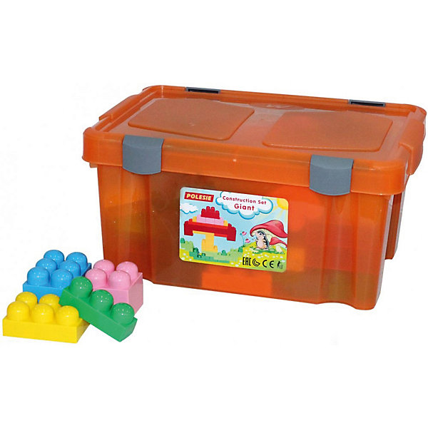 Конструктор Полесье Великан 74 детали, в оранжевом контейнереПластмассовые конструкторы<br>Характеристики:<br><br>• тип игрушки: конструктор;<br>• возраст: от 3 лет;<br>• цвет: оранжевый;<br>• комплектация: 74 эл;<br>• вес: 1,9 кг;<br>• размер: 41х29х19 см;<br>• страна бренда: Беларусь;<br>• бренд: Полесье.<br><br>Конструктор «Великан»  Полесье в оранжевом контейнере, 74 детали создан специально для самых маленьких. Детали данного конструктора выполнены в большом размере, благодаря чему их очень удобно соединять между собой. Каждый малыш может построить из такого конструктора интересные сооружения, опираясь на свою фантазию и воображение.<br><br>Конструктор «Великан»  Полесье в оранжевом контейнере, 74 детали можно купить в нашем интернет-магазине.<br>Ширина мм: 410; Глубина мм: 290; Высота мм: 195; Вес г: 1905; Цвет: оранжевый; Возраст от месяцев: 36; Возраст до месяцев: 2147483647; Пол: Унисекс; Возраст: Детский; SKU: 7927286;