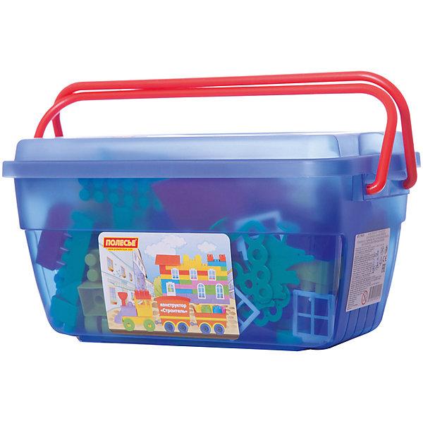 Полесье Конструктор Полесье Строитель 124 детали, в синем контейнере конструктор полесье строитель 101 дет 36100