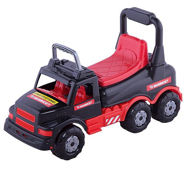 Каталка-автомобиль Полесье Mammoet, красно-чёрнаяКаталки для малышей<br>Характеристики:<br><br>• тип игрушки: каталка;<br>• возраст: от 3 лет;<br>• материал: пластик, металл;<br>• цвет: красный, черный;<br>• вес: 2,5 кг;<br>• размер: 30х71х33см;<br>• страна бренда: Беларусь;<br>• бренд: Полесье.<br> <br>Каталка-автомобиль «МАММОЕТ» Полесье - игрушка для увлекательного катания! Прогуливаясь на каталке, ребенок укрепляет мышцы и развивает баланс, становится более выносливым и сильным. Эргономические показатели – сиденье по спинкой, рельефная поверхность против скольжения, оптимальная высота посадки, обеспечивают комфортное времяпровождение.<br>Передняя часть каталки стилизована под кабину грузовика. Сквозные окошки открывают проработанный салон с креслами и рулем.<br><br>Задняя часть каталки оснащена ручкой для толкания, как у толо-каров – опираясь на нее, ребенок учится уверенно делать шаги и усваивает первые уроки из курса физики. Игрушка изготовлена из высокопрочного пластика отменного качества. Материал стойкий к износу, легкий в уходе и долговечный.<br><br>Каталку-автомобиль «МАММОЕТ» Полесье  можно купить в нашем интернет-магазине.<br>Ширина мм: 690; Глубина мм: 285; Высота мм: 325; Вес г: 2575; Цвет: черный/розовый; Возраст от месяцев: 36; Возраст до месяцев: 2147483647; Пол: Унисекс; Возраст: Детский; SKU: 7927386;