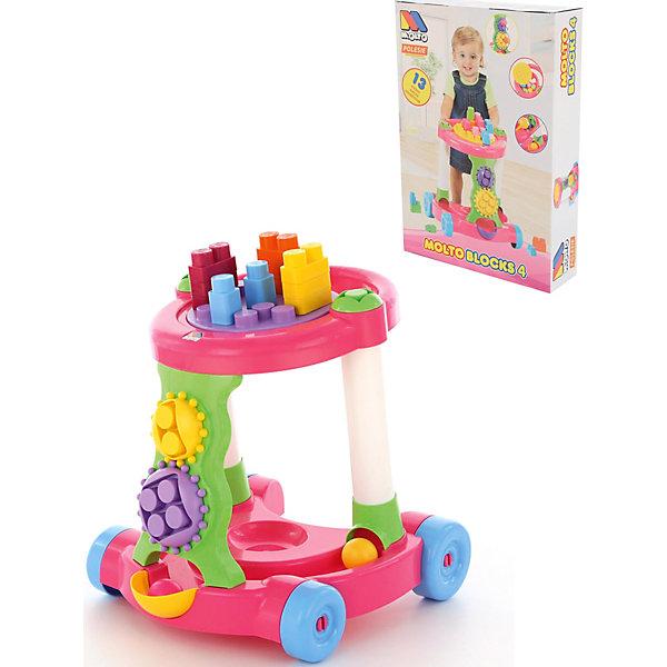 Каталка игровая с конструктором Полесье 13 деталей, розовая, в коробкеПластмассовые конструкторы<br>Характеристики:<br><br>• тип игрушки: каталка;<br>• возраст: от 1 года;<br>• материал: пластик;<br>• комплектация: каталка, 13 элементов;<br>• цвет: розовый;<br>• вес: 1,8 кг;<br>• размер: 56,5х39,5х13  см;<br>• страна бренда: Беларусь;<br>• бренд: Полесье.<br><br>Каталка игровая с конструктором (13 элементов) в коробке (розовая) Полесье может быть использована и как ходунки, и как игру для развития логики, мышления и моторики. Развивающая игрушка для детей дошкольного возраста. Она включает в себя сразу несколько функций. Ребенок сможет по-долгу заниматься с ней и не беспокоить родителей.<br><br>На корпусе игрушки предусмотрены крепления для разноцветных деталей конструктора, подбирая и размещая которые, кроха развивает образное мышление и мелкую моторику рук. Также на поверхности каталки можно рассмотреть лабиринты, которые прекрасно подойдут для весёлого времяпровождения. <br><br>А перемещая яркие шестеренки, малыши будут улучшать тактильное восприятие и хватательные рефлексы. Конструкция каталки очень устойчивая благодаря широким колесикам в нижней части, а за ручку крохе будет удобно держаться во время ходьбы.<br><br>Каталку игровую с конструктором (13 элементов) в коробке (розовая) Полесье можно купить в нашем интернет-магазине.<br>Ширина мм: 565; Глубина мм: 120; Высота мм: 395; Вес г: 1789; Возраст от месяцев: 12; Возраст до месяцев: 2147483647; Пол: Унисекс; Возраст: Детский; SKU: 7927404;