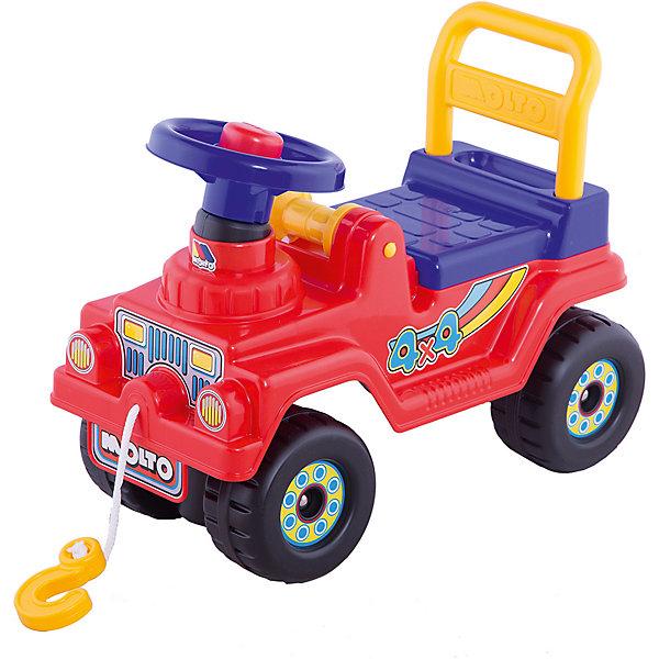Каталка-автомобиль Полесье Джип 4х4, красныйКаталки для малышей<br>Характеристики:<br><br>• тип игрушки: каталка;<br>• возраст: от 1 года;<br>• материал: пластик;<br>• максимальная нагрузка: 30 кг;<br>• цвет: красный;<br>• вес: 2,2 кг;<br>• размер: 27х53х41 см;<br>• страна бренда: Беларусь;<br>• бренд:  Полесье.<br> <br>Каталка-автомобиль «Джип 4х4» Полесье станет замечательным транспортным средством для вашего ребенка. Для того чтобы покататься на мощном джипе, ребенку достаточно просто сесть на сиденье и, отталкиваясь ногами, катиться вперед. Каталка на крупных устойчивых колесах позволит малышу почувствовать себя настоящим гонщиком. Руль каталки превосходно подходит для того, чтобы держаться за него во время езды. <br><br>Спинка сидения обеспечит комфорт и удобство. Спереди расположен пластиковый крюк на прочной веревке, с помощью которого каталку можно прицепить к коляске или другой каталке, или помочь застрявшему в грязи товарищу выбраться. Яркий прочный пластик безопасен для детского здоровья, не выгорает на солнце и позволит такой игрушке прослужить долго. <br><br>Каталку-автомобиль «Джип 4х4» Полесье можно купить в нашем интернет-магазине.<br>Ширина мм: 530; Глубина мм: 270; Высота мм: 410; Вес г: 2222; Цвет: красный; Возраст от месяцев: 36; Возраст до месяцев: 2147483647; Пол: Унисекс; Возраст: Детский; SKU: 7927416;
