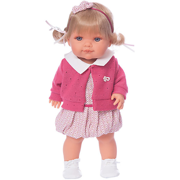Кукла Munecas Antonio Juan Сильвана, 38 смБренды кукол<br>Характеристики:<br><br>• тип игрушки: кукла;<br>• возраст: от 3 лет;<br>• материал: винил, текстиль;<br>• высота куклы: 38 см;<br>• вес: 1,25 кг;<br>• размер: 44х24х20 см;<br>• страна бренда: Испания;<br>• бренд: Juan Antonio Munecas.<br><br>Кукла Сильвана, 38 см Juan Antonio Munecas сможет составить отличную компанию вашей девочке на прогулках, в поездках или в детском саду. Куколка имеет очаровательное личико и правильные пропорции тела, а наряд игрушки отличает современный дизайн и гармонично подобранные цвета.<br><br>Благодаря детальной проработке всех частей тела и «ювелирной» прорисовке лица, она очень похожа на настоящую малышку. Куколка имеет выразительные серые глазки, маленький носик и пухлые губки, сложенные в улыбку, а ее густые и шелковистые волосы светлого оттенка приятно расчёсывать и собирать во всевозможные причёски.<br><br>Сильвана одета в наряд, сочетающий в себе белый и красный оттенки. Он состоит из платья с принтом, дополненного отложным белым воротничком и поясом на талии, теплой вязаной кофточки, а также ботиночек на шнурках. Дополняет образ ободок с бантиком. <br><br>Конечности Сильваны могут двигаться, благодаря чему девочка сможет придавать ей различные игровые позы. Одежда игрушки выполнена из качественных натуральных тканей, при необходимости ее можно постирать.<br><br>Куклу Сильвану 38 см Juan Antonio Munecas можно купить в нашем интернет-магазине.<br>Ширина мм: 440; Глубина мм: 2405; Высота мм: 120; Вес г: 1250; Цвет: розовый; Возраст от месяцев: 36; Возраст до месяцев: 2147483647; Пол: Женский; Возраст: Детский; SKU: 7931250;