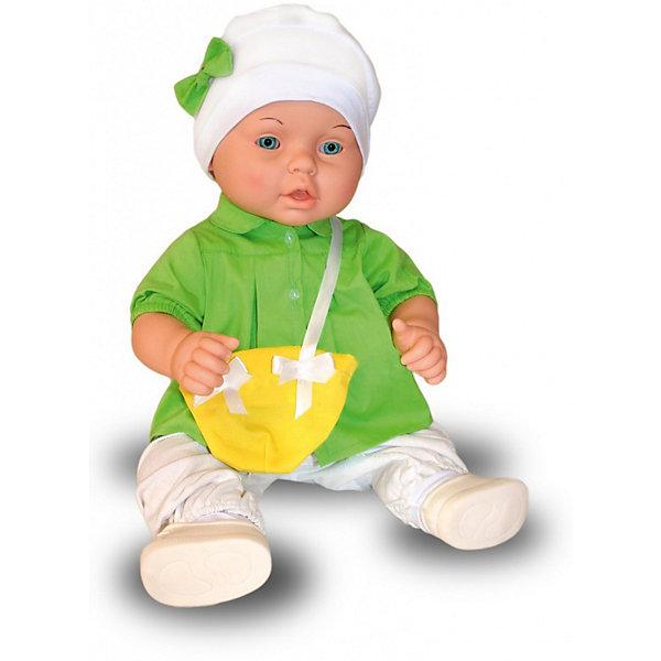 Кукла-пупс Весна Влада 7, 53 смКуклы-пупсы<br>Характеристики:<br><br>• тип игрушки: кукла;<br>• возраст: от 3 лет;<br>• материал: винил, текстиль;<br>• высота игрушки: 53 см;<br>• вес: 1,88 кг;<br>• размер: 59х15х24 см;<br>• страна бренда: Россия;<br>• бренд: Весна.<br><br>Кукла Весна  Влада 7 очень похожа на настоящего ребёнка, с милым личиком, детскими припухлостями, её так и хочется взять на ручки и позаботиться о ней. Спокойное, приятное выражение лица способствует эмоциональному развитию ребёнка. <br><br>В комплект одежды входит: яркое  платьице с кармашком в виде сумочки, шапочка с бантом, ползунки и туфельки. Производитель оставляет за собой право изменения цветовой гаммы одежды и волос куклы, цвет глаз может варьироваться.<br><br>Игровые  возможности куклы: элементы кукольной одежды способствуют развитию мелкой моторики. Продуманная конструкция куклы позволяет её сажать, укладывать спать, переодевать. Куклу можно купать, так как у неё вставные глазки, рельефный кукольный паричок, и нет звуковых устройств. Эта кукла подходит для сюжетных игр и разнообразных игровых действий ребёнка. <br><br>Куклу Весна  Влада 7 можно купить в нашем интернет-магазине.<br>Ширина мм: 590; Глубина мм: 240; Высота мм: 150; Вес г: 1875; Возраст от месяцев: 36; Возраст до месяцев: 2147483647; Пол: Женский; Возраст: Детский; SKU: 7932381;