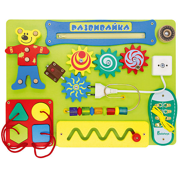 Бизиборд Alatoys РазвивайкаДеревянные игрушки<br>Характеристики:<br><br>• тип игрушки: бизиборд;<br>• возраст: от 3 лет;<br>• материал: дерево, МДФ;<br>• вес: 2,2 кг;<br>• размер: 30,5х18х6 см;<br>• страна бренда: Россия;<br>• бренд: ALATOYS .<br><br>Бизиборд «Развивайка» ALATOYS разработан на основе методики Монтессори. Бизиборд максимально оснащен ресурсами для развития всех основных навыков ребенка в ранний период. Шнуровки, элементы лабиринта, пазлы, механические шестеренки и многое другое — идеальный способ тренировки мелкой моторики и логического мышления. Самый короткий путь к своевременному развитию речи — игра с бизибордом «Развивайка»!<br><br>Бизиборд «Развивайка» ALATOYS можно купить в нашем интернет-магазине.<br>Ширина мм: 305; Глубина мм: 430; Высота мм: 65; Вес г: 2200; Возраст от месяцев: -2147483648; Возраст до месяцев: 2147483647; Пол: Унисекс; Возраст: Детский; SKU: 7932415;