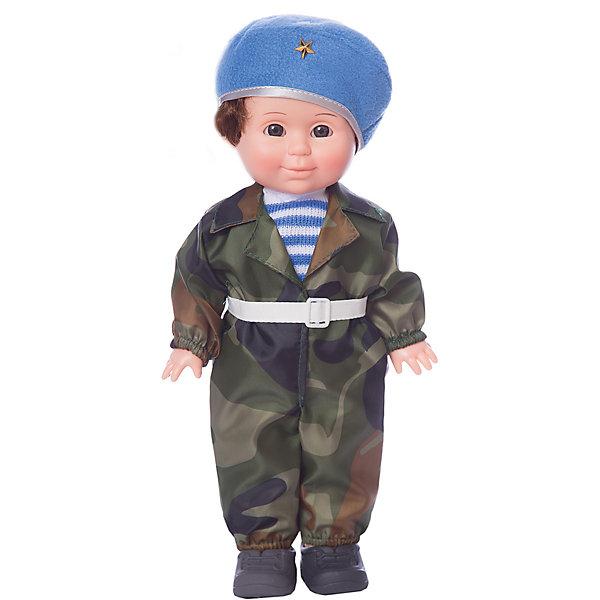 Кукла Весна Митя Военный, 34 смКуклы<br>Характеристики:<br><br>• тип игрушки: кукла;<br>• возраст: от 3 лет;<br>• материал: винил, текстиль;<br>• высота игрушки: 34 см;<br>• вес: 667 гр;<br>• размер: 42х17х10 см;<br>• страна бренда: Россия;<br>• бренд: Весна.<br><br>Кукла Весна  Митя военный - это характерная кукла, изображающая мальчика дошкольного возраста в стилизованном костюме военного. В комплект одежды куклы входит: комбинезон из плащевой камуфляжной ткани, берет из флиса с металлической звездой, вязаная тельняшка, ремень. Комплект дополняют ботинки. Производитель оставляет за собой право изменения цветовой гаммы одежды и волос куклы, цвет глаз может варьироваться. <br><br>Рыжеватые волосы, веснушки, курносый нос, задорная улыбка создают образ симпатичного и озорного мальчишки, открытого к игре и общению. Фигура военного имеет особую популярность среди мальчишек, начиная с дошкольного возраста. <br><br>Наличие элементов одежды, которые легко снимаются и надеваются, позволяет переодевать куклу, то есть легко менять образ и представлять Митю в любой другой роли. В процессе игры развивается мелкая моторика и творческое воображение ребёнка. При нажатии на звуковое устройство, вставленное в спинку, кукла произносит фразы. <br><br>Куклу Весна  Митя военный  можно купить в нашем интернет-магазине.<br>Ширина мм: 420; Глубина мм: 170; Высота мм: 100; Вес г: 667; Возраст от месяцев: 36; Возраст до месяцев: 2147483647; Пол: Женский; Возраст: Детский; SKU: 7932419;