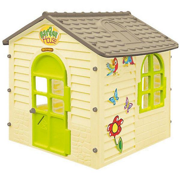 Игровой домик Mochtoys, бежевыйДомики<br>Характеристики:<br><br>• тип игрушки: домик;<br>• возраст: от 3 лет;<br>• материал: пластик;<br>• комплектация:  элементы домика, набор крепежных деталей, наклейки;<br>• окна и дверь открываются и закрываются;<br>• вес: 17 кг;<br>• размер: 115х123х16 см;<br>• страна бренда: Польша;<br>• бренд: Mochtoys.<br><br>Домик Детский Mochtoys -  это крупногабаритная игрушка, с которой ребенку не придется строить шалашей. Ведь этот укромный уголок послужит местом для игр и творчества малыша. Высота домика составляет почти 120 см, поэтому дети будут играть в нем в полный рост. Внутри одновременно может находиться сразу несколько деток. Конструкция легко собирается и разбирается. Поэтому домик при необходимости достаточно просто перемеcтить с одного на другое место.<br><br>Конструкция устойчива. Поэтому в процессе игры дети не смогут ее разрушить. В комплекте имеются красочные наклейки с изображением цветов, бабочек и птичек. Ими ребенок сможет украсить стены любимого игрового центра.<br><br>Домик оборудован дверкой, которую можно открыть. На каждой стене дома установлено окно с подвижными ставнями. Во время игры дети смогут открывать и закрывать окошки. За счет большого количества окон, внутреннее помещение хорошо освещается. Поэтому дети не будут бояться играть внутри.<br><br>Домик Детский Mochtoys можно купить в нашем интернет-магазине.<br>Ширина мм: 1150; Глубина мм: 1230; Высота мм: 160; Вес г: 16900; Цвет: beige/grau; Возраст от месяцев: 36; Возраст до месяцев: 2147483647; Пол: Унисекс; Возраст: Детский; SKU: 7933665;