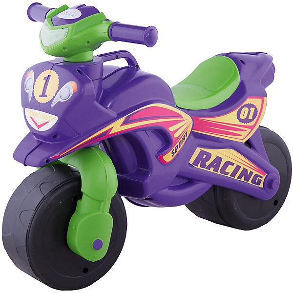 """Каталка-байк """"Sport"""" без музыки, фиолетово-зелёныйКаталки для малышей<br>Характеристики:<br><br>• тип игрушки: каталка;<br>• возраст: от 3 лет;<br>• материал: пластик;<br>• максимальная нагрузка: 40 кг;<br>• вес:  3 кг;<br>• размер: 70х35х50 см;<br>• страна бренда: Украина;<br>• бренд: Doloni.<br><br>Байк без музыки «Sport» фиолетовый/зеленый Doloni  обязательно понравится вашему малышу, и с ней он будет проводить много времени. С таким сочетанием цветов он подойдет как веселому мальчугану, так и задорной девчонке. Мотоцикл-каталка перемещается за счет того, что малыш сидя на сидении, отталкивается ножками и управляет рулем.  Можно использовать как в помещении, так и на свежем воздухе.<br><br>Мотоцикл изготовлен из качественного, нетоксичного пластика. Для удобства мамы при переноске мотоцикла имеется ручка. У мотобайка нет острых углов. За счет определенного расположения центра тяжести и широких колес игрушка достаточно устойчива. Рассчитан на вес до 40 кг. Высота до сиденья-32см.<br><br>Байк без музыки «Sport» фиолетовый/зеленый Doloni можно купить в нашем интернет-магазине.<br>Ширина мм: 700; Глубина мм: 350; Высота мм: 500; Вес г: 2900; Цвет: фиолетовый; Возраст от месяцев: 36; Возраст до месяцев: 2147483647; Пол: Мужской; Возраст: Детский; SKU: 7933669;"""