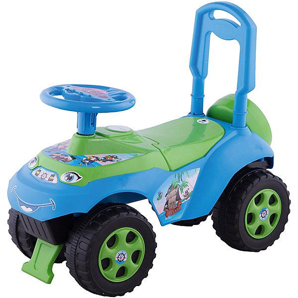 "Doloni Машина-каталка Doloni Автошка"" без музыки, зелёно-голубой машинка для катания doloni автошка с музыкальным рулем голубой зеленый 0118 06"
