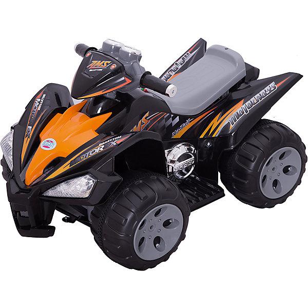 Квадроцикл Bugati Bugati, черныйЭлектромобили<br>Характеристики товара:<br><br>• возраст: от 3 лет;<br>• максимальная нагрузка: 30 кг;<br>• материал: пластик;<br>• мощность аккумулятора 12V 7Ah;<br>• 2 мотора мощностью 35W;<br>• размер квадроцикла: 97х66х65 см;<br>• вес: 14,6 кг;<br>• размер упаковки: 95х62х42 см;<br>• вес упаковки: 17,5 кг.<br><br>Квадроцикл Bugati черный — стильное средство передвижения для ребенка. Квадроцикл может ездить вперед и назад и способен развивать скорость до 5 км/час. Он оснащен удобным сидением и подножками для ног по бокам.<br><br>Большие прорезиненные колеса без труда преодолевают все препятствия и едут по сложным участкам дорог. Руль квадроцикла поворотный, на нем расположена панель со световыми и звуковыми эффектами, которые сделают катание еще увлекательней.<br><br>Квадроцикл Bugati черный можно приобрести в нашем интернет-магазине.<br>Ширина мм: 970; Глубина мм: 650; Высота мм: 660; Вес г: 1750; Цвет: черный; Возраст от месяцев: 36; Возраст до месяцев: 120; Пол: Мужской; Возраст: Детский; SKU: 7934552;