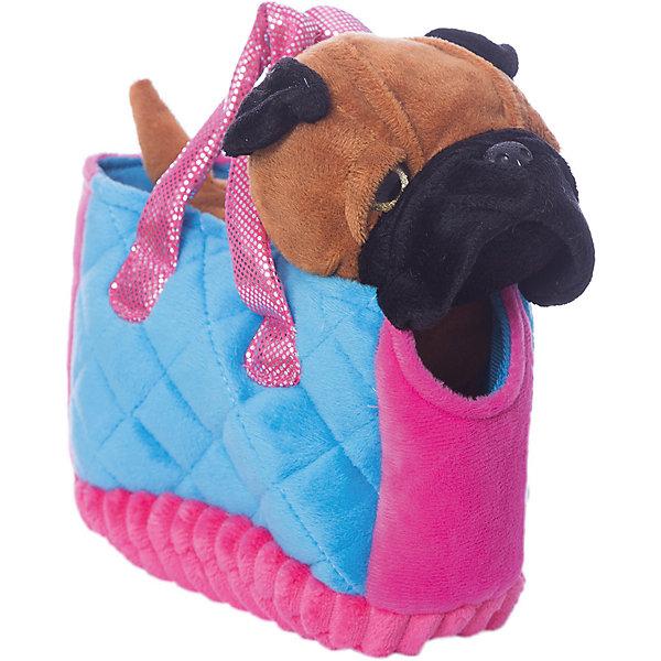 Играем вместе Мягкая игрушка My friends Собачка в сумке, коричневая, 17см