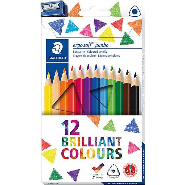 Staedtler Набор цветных карандашей Staedtler «Ergosoft Jumbo», 12 цветов + точилка набор цветных карандашей la paloma 12 цветов