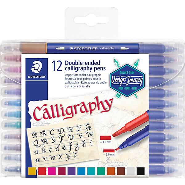 Набор двусторонних фломастеров для письма и дизайна Staedtler Calligraph duo, 12 цветовФломастеры<br>Характеристики:<br><br>• материал: пластик<br>• в комплекте: 12 цветов<br>• толстый и тонкий наконечник<br>• толщина линий: 2 и 3,5 мм<br>• вентилируемый колпачок соответствует ISO 11540 и BS 7272-1/2<br>• упаковка: пластиковый прозрачный бокс<br><br>Фломастеры для каллиграфического письма и декоративного дизайна. С двух сторон фломастер имеет удлиненный колпачок. Мастер способен создать тонкую и широкую линии не выпуская фломастер из руки. Быстро и практично.