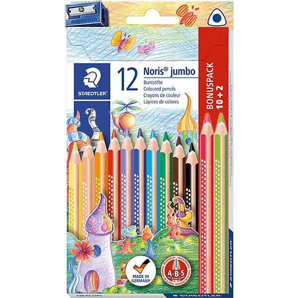 Набор цветных карандашей Staedtler «Noris Club Jumbo», 12 цветов + точилкаКарандаши<br>Характеристики: <br><br>• возраст: от 3 лет;<br>• в комплекте: 10 карандашей, 2 цвета бесплатно (красный и зеленый), точилка;<br>• тип карандашей: двусторонний;<br>• количество цветов: 10;<br>• твердость грифеля: мягкий;<br>• диаметр грифеля: 4 мм;<br>• размер упаковки: 19,7х10,8х1,6 см;<br>• вес упаковки: 112 гр;<br>• страна бренда: Германия.<br><br>Набор цветных карандашей Staedtler «Noris Club Jumbo», (Стедтлер «Норис Клаб Жамбо») имеют эргономичную трехгранную форму для удобного и легкого письма. Идеальны для первых упражнений в письме и рисовании. Привлекательный дизайн Звезды с полем для имени. Мягкий и яркий грифель. Белое защитное кольцо усиливает грифель и повышает его ударопрочность.<br><br>Набор цветных карандашей Staedtler «Noris Club Jumbo», (Стедтлер «Норис Клаб Жамбо»), 12 цветов + точилка можно купить в нашем интернет-магазине.<br>Ширина мм: 202; Глубина мм: 109; Высота мм: 22; Вес г: 124; Возраст от месяцев: 60; Возраст до месяцев: 1164; Пол: Унисекс; Возраст: Детский; SKU: 7935269;