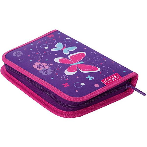Пенал с наполнением Herlitz Purple Butterfly, 31 предметПеналы с наполнением<br>Характеристики:<br><br>• пенал с наполнением;<br>• включает в себя 31 предмет;<br>• 1 отделение на молнии;<br>• 2 откидные створки;<br>• жесткая обложка пенала;<br>• прочный кант;<br>• материал: полиэстер;<br>• оформление: бабочки;<br>• размер: 20,5х14х3,5 см.<br><br>Школьный пенал с наполнением включает в себя такие предметы: шариковая ручка, 2 чернографитных карандаша, 8 цветных карандашей, 14 фломастеров, линейка, угольник, ластик, точилка, расписание уроков, карточка личных данных ученика.<br><br>Пенал Herlitz 31 предмет, Purple Butterfly можно купить в нашем интернет-магазине.<br>Ширина мм: 350; Глубина мм: 140; Высота мм: 205; Вес г: 326; Цвет: фиолетовый; Возраст от месяцев: 72; Возраст до месяцев: 2147483647; Пол: Женский; Возраст: Детский; SKU: 7936469;