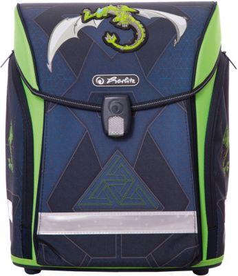 Ранец Herlitz  Midi New  Green Robo Dragon, без наполнения, артикул:7936509 - Школьные рюкзаки и ранцы