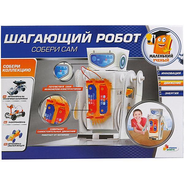 Сборная модель Играем вместе Шагающий роботРобототехника и электроника<br>Характеристики:<br><br>• возраст: от 6 лет;<br>• материал: картон, металл, пластмасса, дерево;<br>• тип батареек: 2хАА;<br>• наличие батареек: не в комплекте;<br>• вес упаковки: 970 гр.;<br>• размер упаковки: 37х58х48 см;<br>• страна бренда: Россия.<br><br>Сборная модель Играем вместе «Шагающий робот» научит ребенка основам физики и конструирования. Из деталей набора предстоит создать необычного робота, который сам совершает движения и ходит.<br><br>Сборка развивает логическое и пространственное мышление, а также мелкую моторику рук. Выполнено из прочных безопасных материалов.<br><br>Сборную модель Играем вместе «Шагающий робот» можно купить в нашем интернет-магазине.<br>Ширина мм: 230; Глубина мм: 60; Высота мм: 170; Вес г: 9700; Цвет: оранжевый/белый; Возраст от месяцев: 36; Возраст до месяцев: 60; Пол: Унисекс; Возраст: Детский; SKU: 7941137;