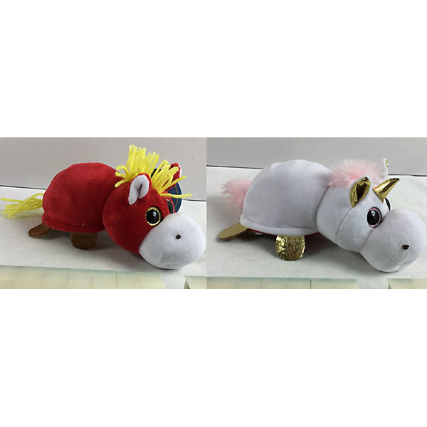 TEDDY Мягкая игрушка Teddy Перевертыши Лошадка-Единорог, 16 см teddy единорог белый с золотыми копытами ушками и рогом 15 см m095