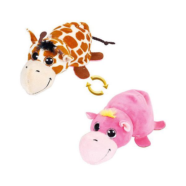 TEDDY Мягкая игрушка  Перевертыши Жираф-Бегемотик, 16 см