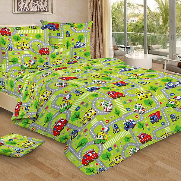 Фотография товара детское постельное белье 1,5 сп. Letto, Город, зеленый (7949246)