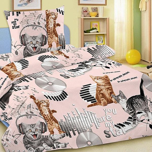 Фотография товара детское постельное белье 1,5 сп. Letto,Кот диджей,розовый (7949286)