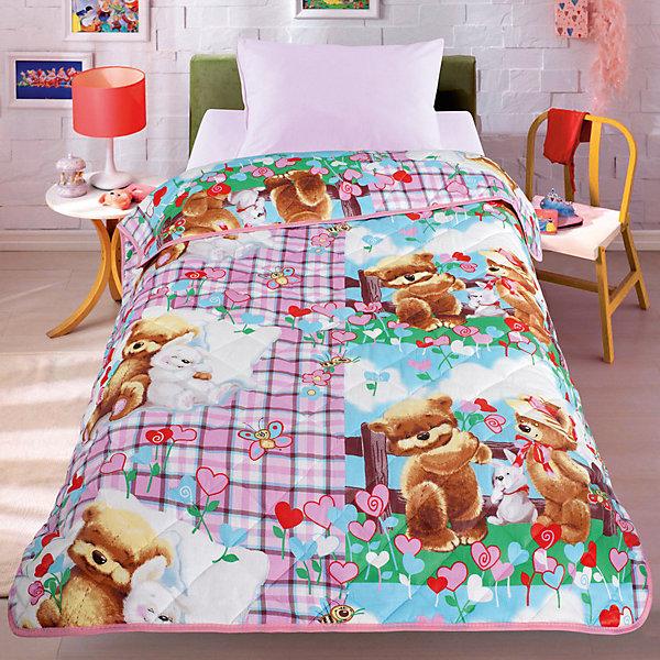 Letto Покрывало-одеяло Мишки и зайка 140*200, стеганное, Letto letto детское постельное белье 1 5 сп letto мишки и зайка