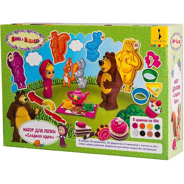 Набор для лепки Росмэн Маша и Медведь Сладкая идеяНаборы для лепки игровые<br>Характеристики:<br><br>• тип игрушки: набор;<br>• возраст: от 3 лет;<br>• материал: пластик;<br>• комплектация: две 3D-формочки (Маша и Медведь), 2D-формочки героев (белка и заяц), 4 формочки для лепки сладостей, 8 пакетиков цветного теста по 60 г, стека, шприц-давилка, цветная двусторонняя инструкция (А4);<br>• вес: 610 гр;<br>• размер: 24х17х6 см;<br>• издательство: Росмэн.<br><br>Набор для лепки Росмэн «Маша и Медведь» Сладкая идея подойдет для детей от 3 лет. С помощью 3D-формочек создавайте детализированные фигурки Маши и Медведя. Раскатывайте блинчики, вырезайте стекой, создавайте формочками сладости и придумывайте свои поделки. <br><br>Смешивайте цвета, экспериментируйте. А инструкция в картинках поможет вам вылепить красивые фигурки. Затем оставьте их на воздухе, и они застынут, превратясь в настоящие игрушки! Лепка отлично тренирует мелкую моторику, усидчивость и творческие навыки, воображение, восприятие цвета, формы, фактуры, объема.<br> <br>Набор для лепки Росмэн «Маша и Медведь» Сладкая идея  можно купить в нашем интернет-магазине.<br>Ширина мм: 240; Глубина мм: 170; Высота мм: 60; Вес г: 610; Цвет: разноцветный; Возраст от месяцев: 36; Возраст до месяцев: 120; Пол: Унисекс; Возраст: Детский; SKU: 7959824;