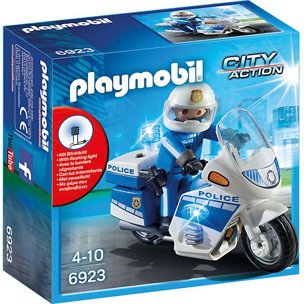 Конструктор Playmobil Полиция Полицейский мотоцикл со светодиодомПластмассовые конструкторы<br>Характеристики товара:<br><br>• возраст: от 4 лет;<br>• материал: пластик;<br>• в комплекте: фигурка, мотоцикл, аксессуары;<br>• тип батареек: 3 батарейки DC 393 1,5V;<br>• наличие батареек: в комплект не входят;<br>• высота фигурки: 7,5 см;<br>• размер упаковки: 14,2х14,2х6,6 см;<br>• вес упаковки: 154 гр.;<br>• страна бренда: Германия.Игровой набор «Полиция: Полицейский мотоцикл со светодиодом» Playmobil включает в себя фигурку полицейского и его мотоцикл для поимки преступников. Фигурку можно посадить на мотоцикл. Мотоцикл оснащен светящимися яркими сиренами.<br><br>Игровой набор «Полиция: Полицейский мотоцикл со светодиодом» Playmobil можно приобрести в нашем интернет-магазине.