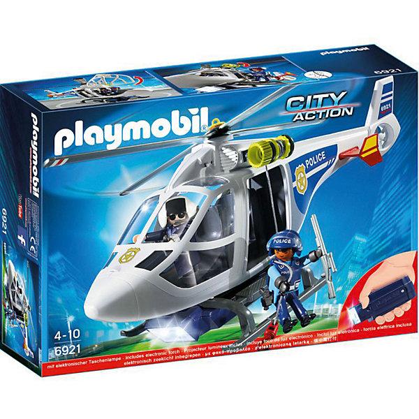 Купить Конструктор Playmobil Полиция Полицейский вертолет с LED прожектором, PLAYMOBIL®, Германия, Мужской