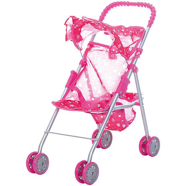 Коляска для кукол с козырьком в рюшах Buggy Boom, розовая