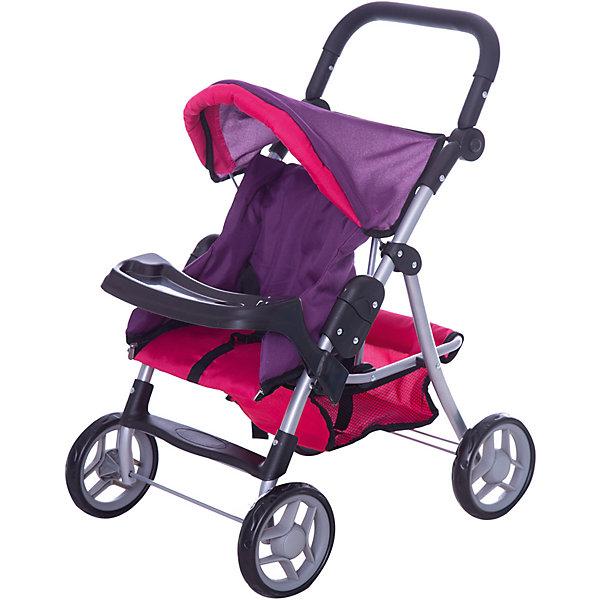 Коляска - трансформер Buggy Boom , розово-фиолетовыйТранспорт и коляски для кукол<br>Характеристики товара:<br><br>• возраст: от 3 лет;<br>• материал: полиэстер, пластик, металл;<br>• размер коляски: 62х39х76 см;<br>• диаметр колес: 15 см;<br>• размер упаковки: 53х33х14 см;<br>• вес упаковки: 2,68 кг.<br><br>Коляска-трансформер для кукол Buggy Boom Skyna розово-фиолетовая — коляска для любимой куколки девочки. Коляска оснащена удобным мягким сидением с бортиками для куклы, ручкой управления, складным капюшоном. Ручка для управления регулируется по высоте под рост девочки. В сидении куколка пристегивается ремешком безопасности. На сидении предусмотрен пластиковый столик для кормления куколки. Сидение выполнено из полиэстера, который легко моется по мере загрязнения. <br><br>Под сидением вместительная корзинка для вещей или игрушек. Небольшой вес коляски позволяет без труда управлять ей, выносить самостоятельно на прогулку и переносить. Для безопасности предусмотрена система защиты от случайного складывания. Рама выполнена из облегченного металла и устойчива к повреждениям. Коляска подойдет для кукол до 35 см.<br><br>Коляску-трансформер для кукол Buggy Boom Skyna розово-фиолетовую можно приобрести в нашем интернет-магазине.<br>Ширина мм: 530; Глубина мм: 140; Высота мм: 330; Вес г: 2680; Цвет: фиолетовый; Возраст от месяцев: 36; Возраст до месяцев: 60; Пол: Женский; Возраст: Детский; SKU: 7969428;