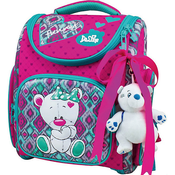 Купить Ранец DeLune 3-168 с мешком для обуви + брелок-мишка, Италия, зеленый/розовый, Женский