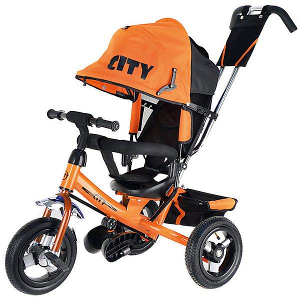 Трехколесный велосипед City надувные колеса 8/10, оранжевыйВелосипеды и аксессуары<br>Характеристики:<br><br>• цвет: оранжевый<br>• велосипед-коляска для детей старше 1 года;<br>• регулируемая спинка, 3 положения;<br>• глубокий регулируемый капор с фиксаторами положения;<br>• складные подножки, которые можно снять;<br>• 3-х точечный ремень безопасности;<br>• защитная разъемная дуга;<br>• телескопическая родительская ручка управления;<br>• регулируется в 2-х положениях: 104 и 108 см;<br>• защита от люфта;<br>• сумка-кармашек на ручке;<br>• надувные колеса;<br>• стояночный тормоз;<br>• звонок на руле;<br>• корзина для игрушек;<br>• допустимый вес ребенка: 30 кг;<br>• минимальный рост: 70 см;<br>• размер велосипеда: 81х51х102 см;<br>• вес велосипеда: 10,6 кг;<br>• размер сиденья: 23х20 см;<br>• диаметр колес 8 и 10 дюймов;<br>• материал: металл, пластик, полиэстер.<br><br>Функциональный велосипед-коляска оборудован ремнями безопасности, страховочным ободом и складными подножками. Регулируется наклон сиденья, высота родительской ручки, положение капюшона. Складная колясочная крыша защищает от солнечных лучей и небольших осадков. Благодаря надувным колесам обеспечен плавный ход велосипеда по неровной поверхности. <br><br>Трехколесный велосипед City надувные колеса 8/10, оранжевый можно купить в нашем интернет-магазине.<br>Ширина мм: 600; Глубина мм: 410; Высота мм: 300; Вес г: 11600; Цвет: оранжевый; Возраст от месяцев: 144; Возраст до месяцев: 36; Пол: Унисекс; Возраст: Детский; SKU: 7980216;