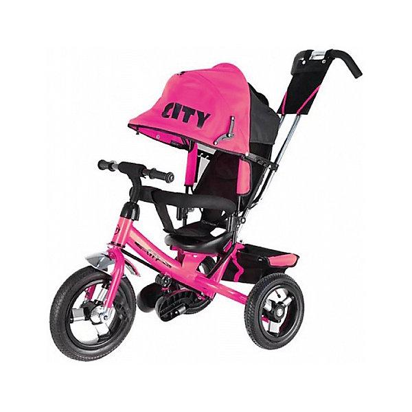 Трехколесный велосипед City надувные колеса 8/10, розовый