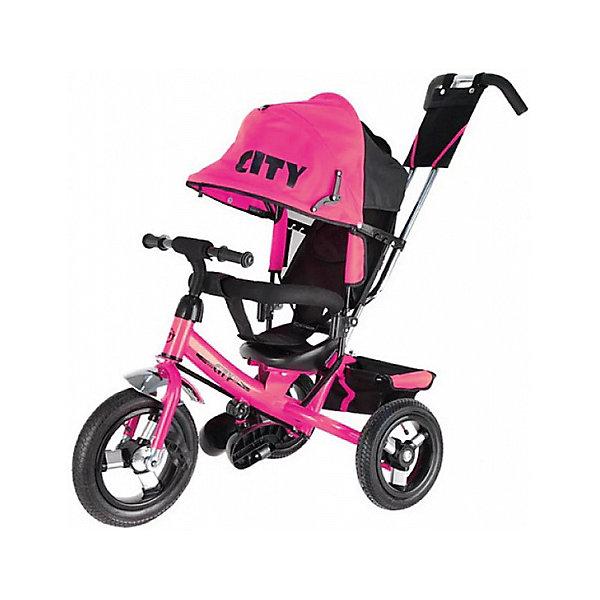 City Трехколесный велосипед City пластиковые колеса 8/10, розовый