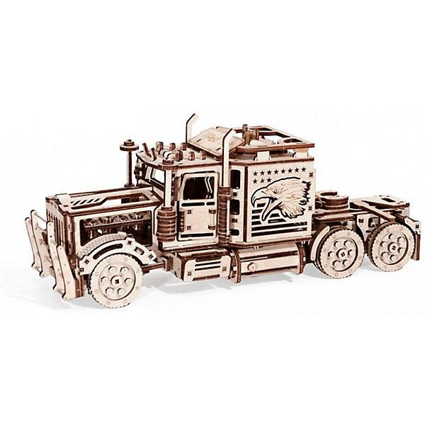 Сбоная модель  Wood Trick Тягач Биг РигДеревянные модели<br>Характеристики:<br><br>• возраст: от 14 лет;<br>• материал: дерево;<br>• количество деталей: 485;<br>• вес упаковки: 1000 гр.;<br>• размер упаковки: 37х18х3 см;<br>• страна производитель: Украина.<br><br>Сбоная модель  Wood Trick Тягач Биг Риг - это мощная машина, которая имеет переключатель скоростей.<br>Через дизайнерски прорезанные узоры вы можете увидеть реалистично движущиеся механизмы внутри конструктора. Подняв капот автомобиля оцените работу 4-х тактного двигателя с коленным валом. Внутренние детали конструктора спроектированы с оглядкой на настоящие, что не может не подкупить знатоков. Это однозначно поразит автомобилистов и принесет удовольствие в процессе сборки и по его завершению.<br><br>Изделие выполнено из гладкой березовой фанеры, не имеющей заусенцев, поэтому удобно для покраски и безопасно для сборки.<br><br>Сбоная модель  Wood Trick Тягач Биг Риг можно купить в нашем интернет-магазине.<br>Ширина мм: 370; Глубина мм: 185; Высота мм: 35; Вес г: 1300; Цвет: бежевый; Возраст от месяцев: 168; Возраст до месяцев: 1188; Пол: Унисекс; Возраст: Детский; SKU: 7980868;