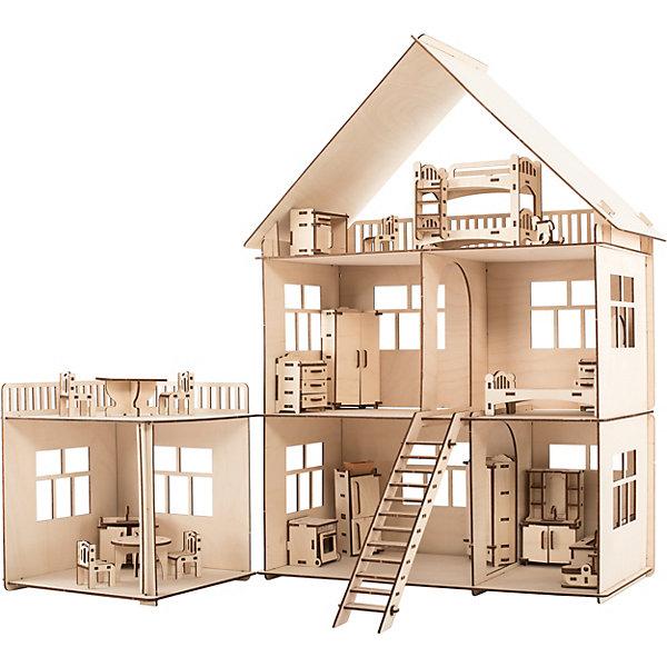 Хэппидом Сборная модель Коттедж с пристройкой и мебелью