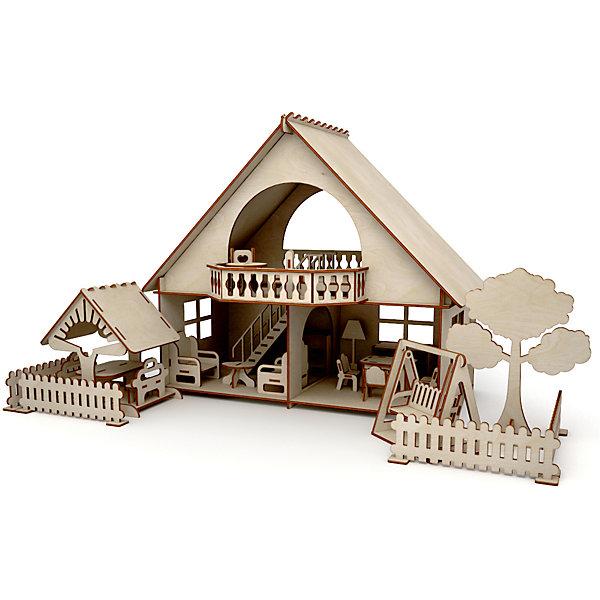Сборная модель ХэппиДом Летний дом с беседкой и качелямиДеревянные модели<br>Характеристики:<br><br>• возраст: от 5 лет;<br>• материал: дерево;<br>• в комплекте: детали домика, набор мебели, инструкция;<br>• размер модели: 44х29х35 см;<br>• вес упаковки: 1,5 кг.;<br>• размер упаковки: 42х28х6 см;<br>• страна производитель: Россия.<br><br>Сборная модель ХэппиДом Летний дом с беседкой и качелями не оставит никого равнодушным. <br>Ваши дети смогут проявить свой дизайнерский потенциал, выбирая обои для комнат, планируя максимально комфортную расстановку мебели в помещениях. А стены с внешней стороны можно окрасить акриловыми или гуашевыми красками. <br><br>Изделие выполнено из гладкой березовой фанеры, не имеющей заусенцев, поэтому удобно для покраски и безопасно для сборки.<br><br>Сборная модель ХэппиДом Летний дом с беседкой и качелями   можно купить в нашем интернет-магазине.<br>Ширина мм: 420; Глубина мм: 280; Высота мм: 40; Вес г: 1500; Цвет: бежевый; Возраст от месяцев: 60; Возраст до месяцев: 216; Пол: Унисекс; Возраст: Детский; SKU: 7980898;