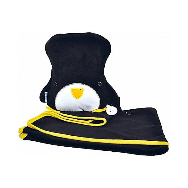 Подушка с пледом Trunki ПингвинАксессуары для автокресел<br>Характеристики:<br>• детский дорожный набор 2в1: плед и подушка;<br>• оформление: Пингвин;<br>• на пледе есть специальный кармашек для мягкой игрушки;<br>• плед крепится к подушке;<br>• материал: текстиль;<br>• размер подушки: 26х21 см;<br>• размер пледа:70х90 см.<br><br>Дорожный комплект Trunki включает в себя надувную подушку и плед. Выручает в дороге, малыш кладет головку на подушку и укрывается пледом. Чтобы в ходе движения малыш был укрыт, плед особым образом крепится к подушке с помощью кольца-держателя.<br><br>Подушку с пледом Trunki «Пингвин» можно купить в нашем интернет-магазине.<br>Ширина мм: 245; Глубина мм: 130; Высота мм: 335; Вес г: 502; Цвет: черный/белый; Возраст от месяцев: 36; Возраст до месяцев: 96; Пол: Унисекс; Возраст: Детский; SKU: 7981194;