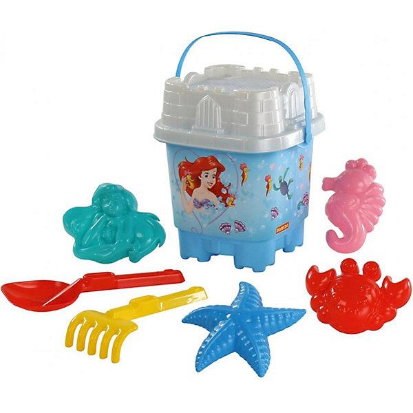 Набор игрушек для песочницы Полесье Disney Русалочка № 9, 8 предметовПопулярные игрушки<br>Характеристики:<br><br>• возраст: от 3 лет;<br>• материал: пластик;<br>• комплектация: ведро-замок большое с наклейкой, ситечко-замок большое, лопатка №32, грабельки №32, формочки (Ариэль + краб №2 + морской конёк + морская звезда №2);<br>• размер: 205х21х38 см;<br>• вес: 412 гр;<br>• упаковка: сетка;<br>• страна бренда: Беларусь;<br>• бренд: Полесье.<br><br>Набор Disney «Русалочка» №9 порадует детей от 3 лет и старше. Он включает в себя нескольких формочек и видов «копательных» инструментов, большого ведра хватит на всех. Множество составляющих комплекта позволят весело провести время. Детишки обожают играть в песок, значит, есть идея, как их занять. Набор легко моется, изготовлен он из пластмассы, не содержит токсичных веществ. Яркие наклейки на некоторых элементах набора привлекут внимание ребенка, заинтересуют в продолжении игры.<br><br>Набор Disney «Русалочка» №9 можно купить в нашем интернет-магазине.<br>Ширина мм: 210; Глубина мм: 200; Высота мм: 380; Вес г: 412; Цвет: разноцветный; Возраст от месяцев: 36; Возраст до месяцев: 2147483647; Пол: Женский; Возраст: Детский; SKU: 7992073;