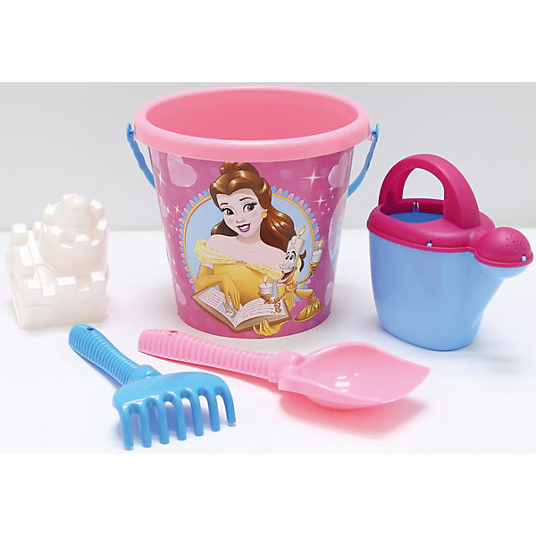 Набор игрушек для песочницы Полесье Принцессы Disney» № 13, 5 предметовПринцессы Дисней<br>Характеристики:<br><br>• возраст: от 3 лет;<br>• материал: пластик;<br>• комплектация: ведро большое с наклейкой, лопата №6, грабли №6, форм;<br>• размер: 22,5х21х24,5 см;<br>• вес: 342 гр;<br>• упаковка: сетка;<br>• страна бренда: Беларусь;<br>• бренд: Полесье.<br><br>Набор «Принцесса» №13развлечет целую группу детей — нескольких формочек и видов «копательных» инструментов, большого ведра с ситом хватит на всех. Детишки обожают играть в песок, значит, есть идея, как их занять. Набор легко моется, изготовлен он из пластмассы, не содержит токсичных веществ. Яркие наклейки на некоторых элементах набора привлекут внимание ребенка, заинтересуют в продолжении игры.<br> <br>Набор «Принцесса» №13 можно купить в нашем интернет-магазине.