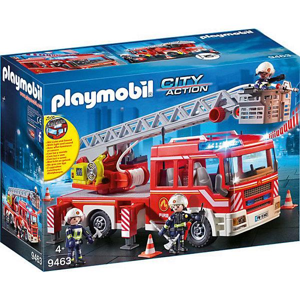 Конструктор Playmobil Пожарная служба: пожарная машина с лестницейПластмассовые конструкторы<br>Характеристики:<br><br>• комплектация: 3 фигурки, пожарная машина, аксессуары (огнетушитель, вентилятор, лопата, топорик, метла, фонарик, телефон, 3 пожарные каски, 3 пары перчаток)<br>• высота пожарных: 7,5 см<br>• работает от батареек: ААА 1,5Vх2 (не входят в комплект)<br>• материал: пластик<br>• упаковка: картонная коробка<br>• страна бренда: Германия<br><br>Качественное исполнение и реалистичная детальная проработка игрового набора позволит использовать его в веселых сюжетно-ролевых играх. Фигурки подвижны и могут держать в руках небольшие предметы из набора. Пожарная машина с выдвижной лестницей и световыми и звуковыми сигналами. Яркий набор с элементами конструктора для развития полезных навыков.