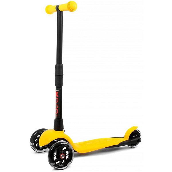 Детский трехколесный самокат АЛЬФА (Buggy Boom Alfa Model), желтыйСамокаты<br>Характеристики:<br><br>• возраст: от 1 года;<br>• материал: полипропилен, полиуретан, полиамид;<br>• цвет: желтый;<br>• максимальная нагрузка: 25 кг;<br>• подшипники: ABEC 7;<br>•дека: 28х10,5 см;<br>• диаметр заднего колеса: 12 см;<br>• диаметр переднего колеса: 10 см;<br>• жесткость колеса: 85 А;<br>• размер: 17,5х58х26,5 см;<br>• вес: 2 кг;<br>• страна бренда: Россия;<br>• бренд: Багги Бум.<br><br><br>Детский трехколесный самокат АЛЬФА, ярко-голубой  порадует активных детей от 1 года. С трехколесным самокатом ваш ребенок сможет укрепить здоровье, просто наслаждаясь прогулкой. Он имеет надежную устойчивую конструкцию и ручки с противоскользящей поверхностью. Руль складывается и регулируется по высоте, колеса светятся. Катание на самокате развивает координацию.<br> <br>Детский трехколесный самокат АЛЬФА, желтый  можно купить в нашем интернет-магазине.<br>Ширина мм: 175; Глубина мм: 580; Высота мм: 265; Вес г: 2000; Цвет: желтый; Возраст от месяцев: 12; Возраст до месяцев: 36; Пол: Унисекс; Возраст: Детский; SKU: 8004601;