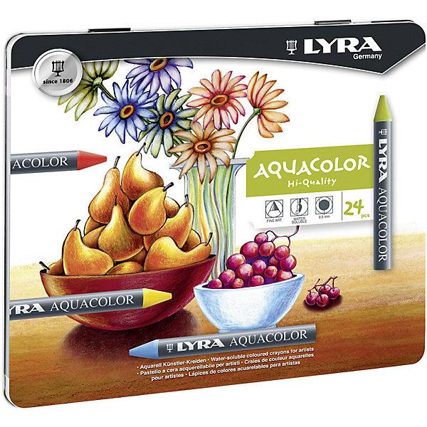 LYRA Акварельные цветные мелки AQUACOLOR, водорастворимые, 24 цветов карандаши восковые мелки пастель lyra osiris цветные треугольное сечение 6 цветов