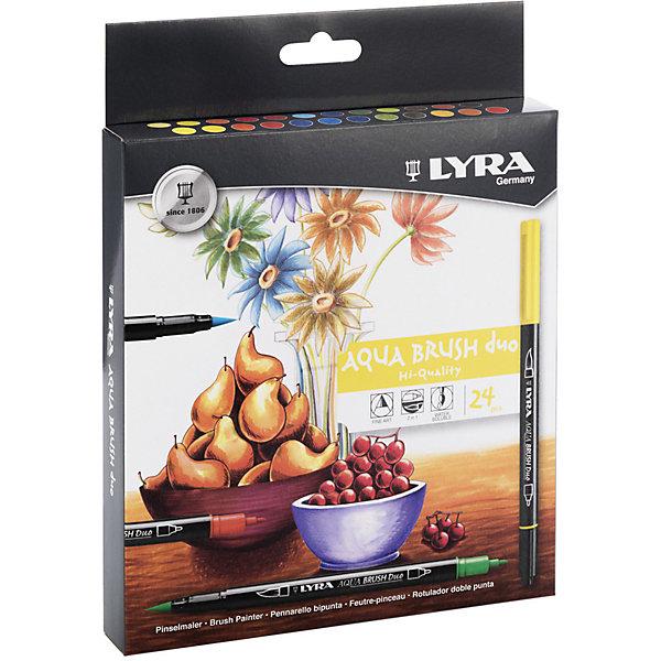 LYRA Фломастеры Aqua Brush Duo двойные с эффектом рисунка кистью, 24 цветов