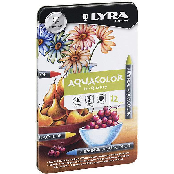 LYRA Акварельные цветные мелки AQUACOLOR, водорастворимые, 12 цветов карандаши восковые мелки пастель lyra osiris цветные треугольное сечение 6 цветов